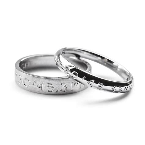 bespoke jewellery coordinates wedding ring in 18ct white