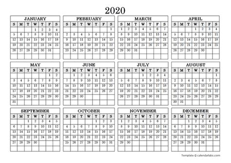blank yearly calendar landscape  printable templates