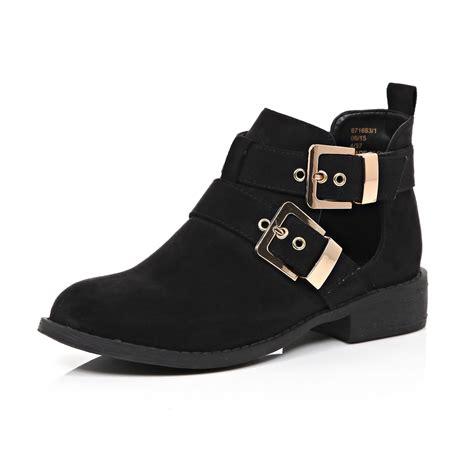 river island black nubuck buckle cut out boots in black lyst