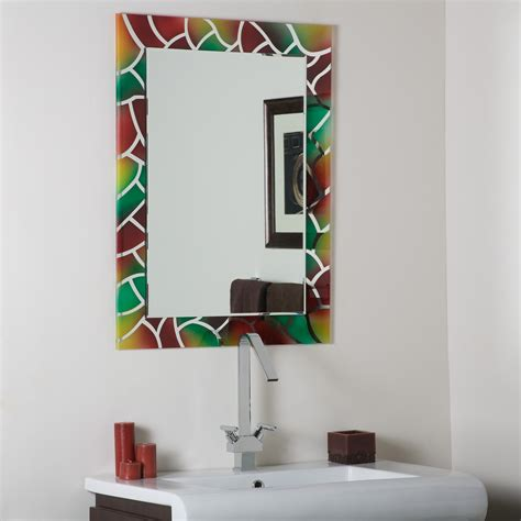 decor mosaic frameless bathroom mirror with