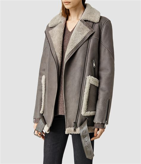 lyst allsaints beck shearling jacket in gray