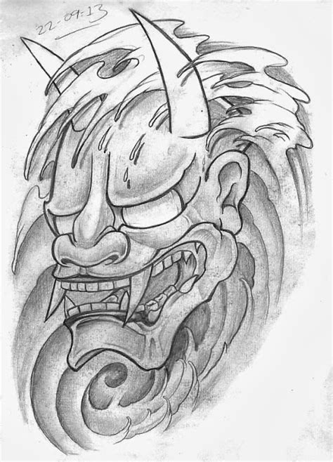 hanya tattoo designs sketch a day japanese masks september 22nd 30th