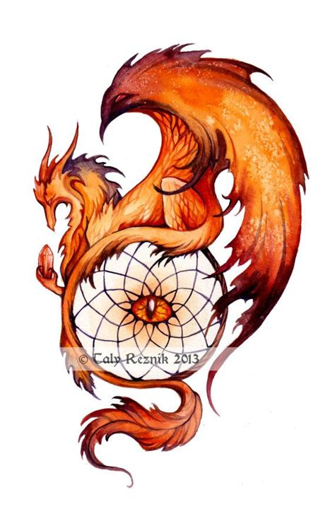 fantasy dragon tattoo designs haloween dreamcatcher original by