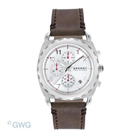 sperry top sider mariner 102032 brown leather chronograph