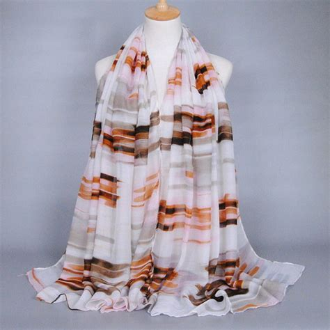 016af6rkorean Fashion Color Stripe Pattern Temperament Scarf Coffee sell scrawl stripe pattern personality voile shawl wrap scarf for in coffee