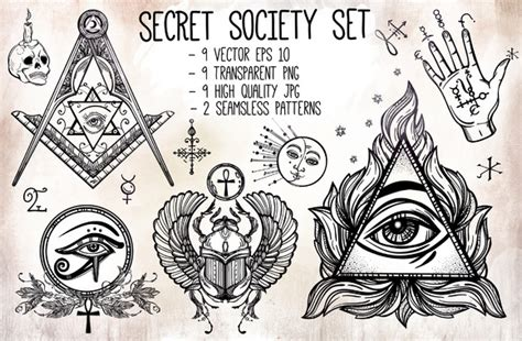 secret society vintage set illustrations on creative market