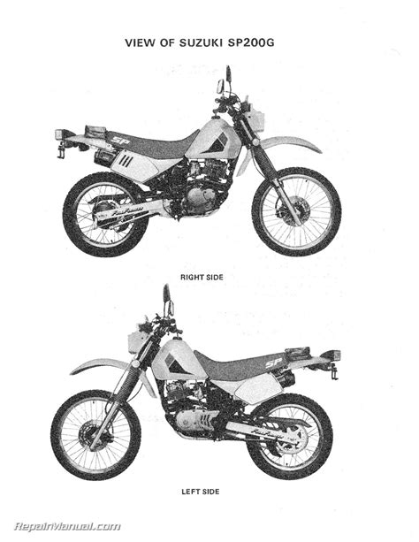 1986 Suzuki Sp200 1986 Suzuki Sp200g Dr200 Motorcycle Service Manual