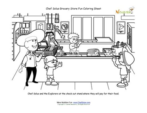 printable coloring pages grocery store grocery store chef solus at check out coloring sheet