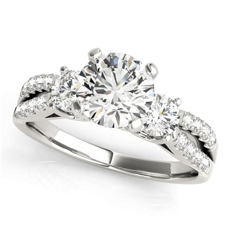 14kt white gold split band 3 engagement ring