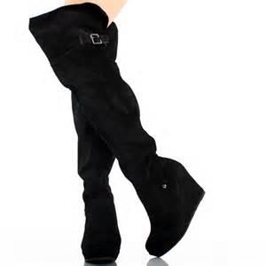 black suede buckle womens platform wedge heel the
