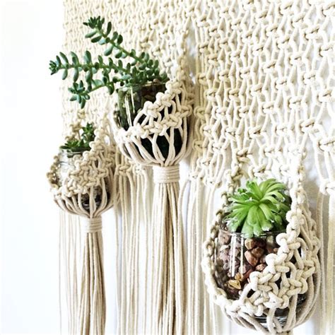 Macrame Planters - macrame hanging planter pouch wall hanging modern