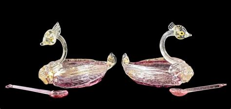 pair venetian art glass cranberry swan salt cellars