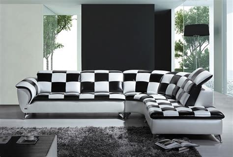 black and white sectional sofa divani casa k8478 modern black and white checkered leather