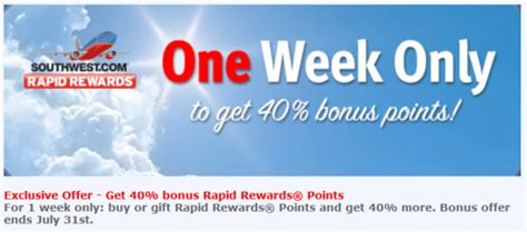 Can You Buy Points With A Southwest Gift Card - southwest buy gift rapid rewards points promo 40 off july 24 31 2014 loyaltylobby