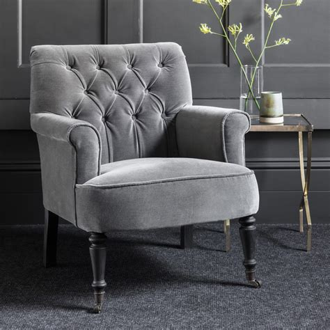 Grey Velvet Armchair by Pimlico Button Back Velvet Armchair