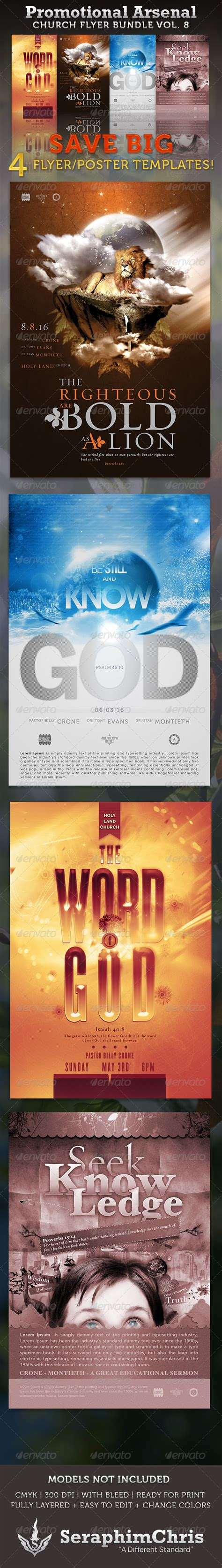 Promotional Arsenal Church Flyer Bundle 8 By Seraphimchris Graphicriver Church Promo Templates