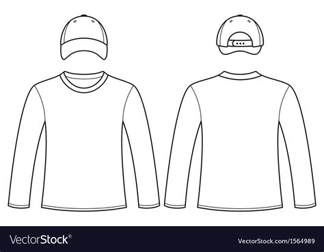 Tshirt Longsleeve Kaos Panjang Three Second sleeved t shirt and cap template royalty free vector