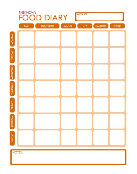 free printable food diary template