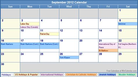 2012 Calendar With Holidays September 2012 Calendar With Holidays As Picture