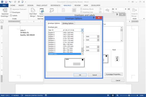 Print Envelope how to print envelopes using word from data in excel