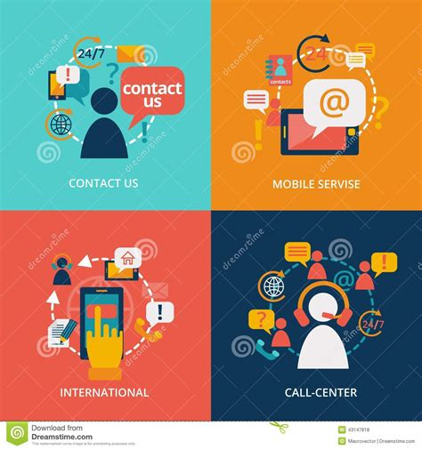 vector flat customer office concept contact us flat stock vector image of address communication 43147818