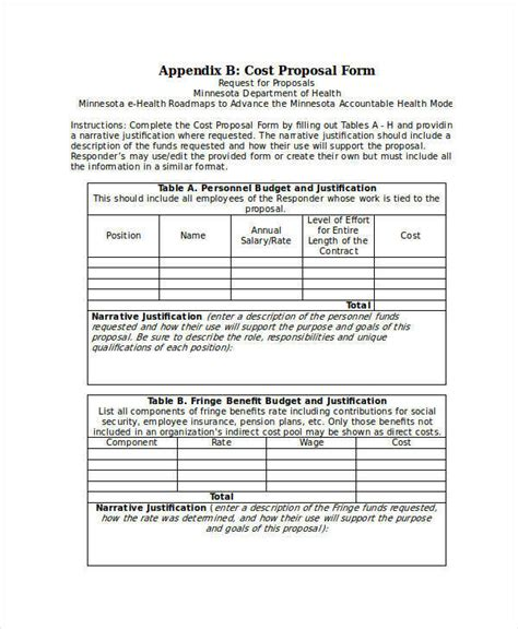 rfp cost template cost templates 7 exles in word pdf
