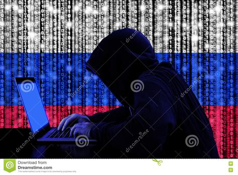 time cybersecurity hacking the web and you books hacker from russia at work cybersecurity concept stock