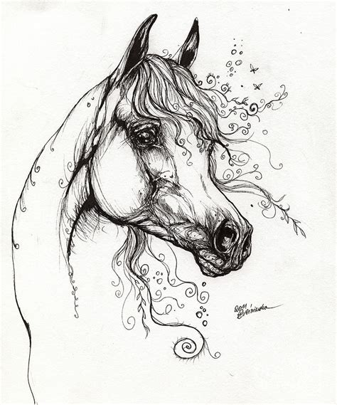 tattoo pen for livestock arabian horse drawing 9 drawing by angel ciesniarska