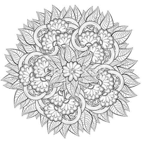 intricate fall coloring pages pattern for coloring book with abstract flowers vector art