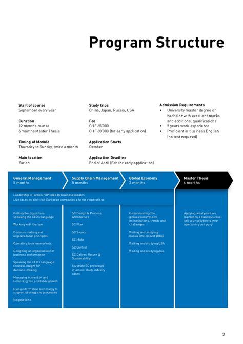 Eth Zurich Mba Fees by Mba Eth Scm Brochure