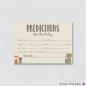 guess the weight of the baby template woodland baby shower prediction cards printable instant