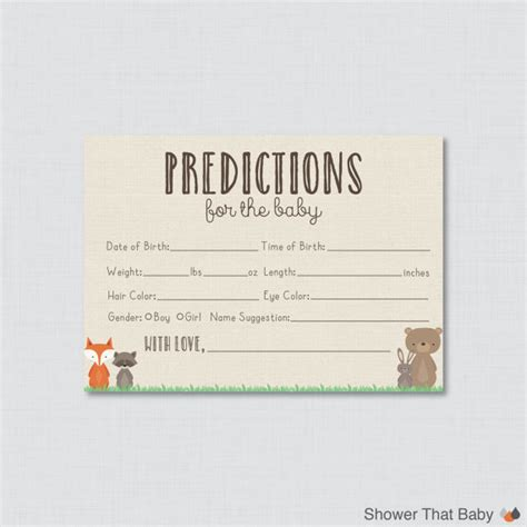 guess the baby weight template woodland baby shower prediction cards printable instant