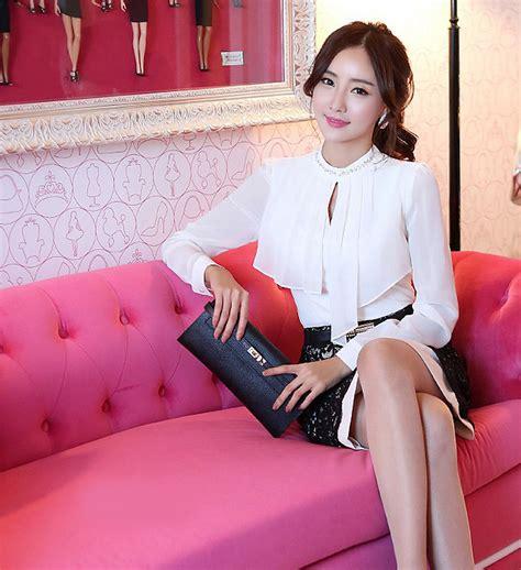 C058 Kemeja Blouse Sifon Putih Lengan Panjang blouse putih lengan panjang model terbaru jual murah import kerja