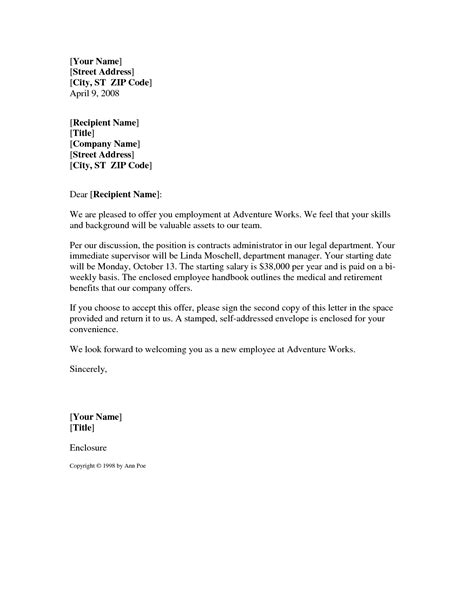 employment offer template best photos of offer letter format sle offer