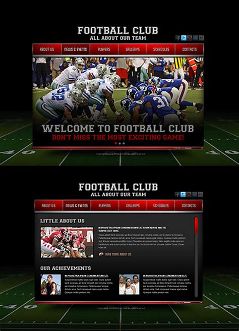 templates for football website football club html5 template best website templates