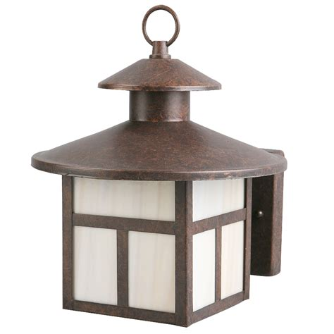 Rustic Outdoor Lighting Shop Portfolio 9 7 8 In Rustic Brown Outdoor Wall Light At Lowes