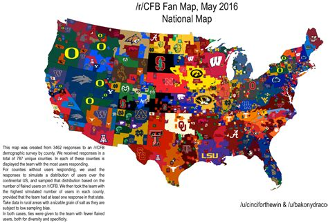 map usa football teams 3 different maps that show the most popular college