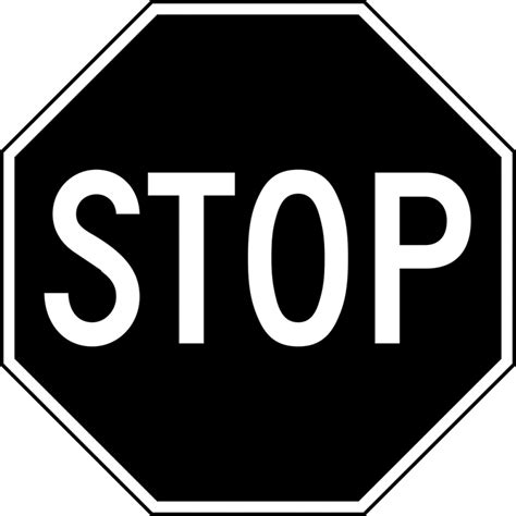 The Sign Black stop sign black and white clipartion