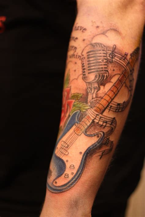 rockabilly guitar tattoo designs old rose guitar