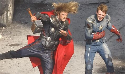 film thor captain america the avengers movie spy cam footage of thor and captain