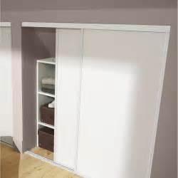 lot de 2 portes de placard coulissante blanc l 120 x h 120