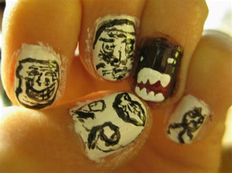 Meme Nails - meme faces with domo kun nails by holkinns on deviantart