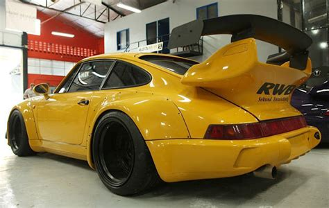 rwb porsche yellow car racing now working on 3rd rwb porsche project