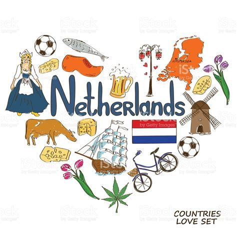 netherlands map clipart netherlands symbols in shape concept stock vector