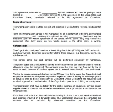 10 Consulting Contract Templates Sle Templates Consulting Agreement Template Word