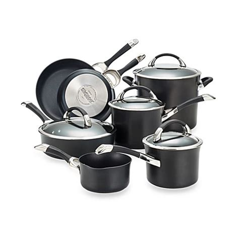 bed bath and beyond pots and pans circulon 174 symmetry black 11 piece cookware set bed bath