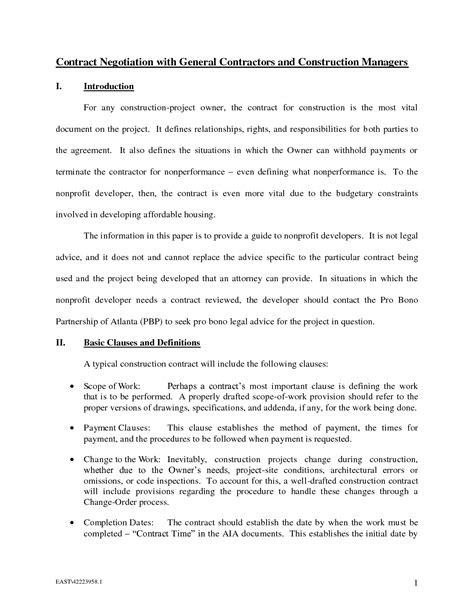 general contractors contract template 10 best images of general contract agreement template