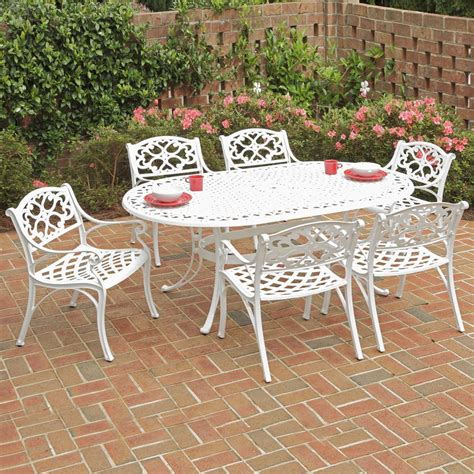 White Patio Dining Sets Shop Home Styles Biscayne 7 White Aluminum Dining Patio Dining Set At Lowes