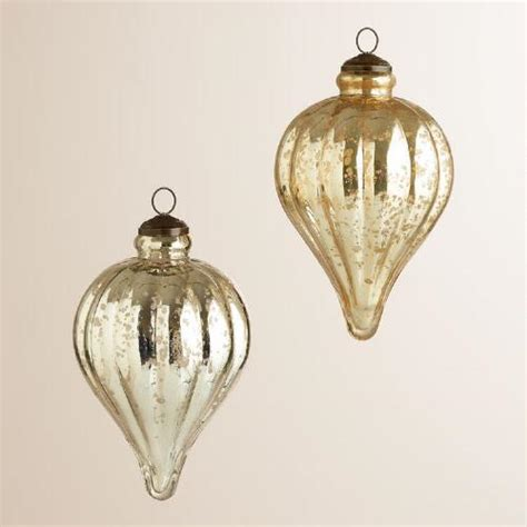 Gold Glass Ornaments - silver and gold teardrop mercury glass ornaments set of 2