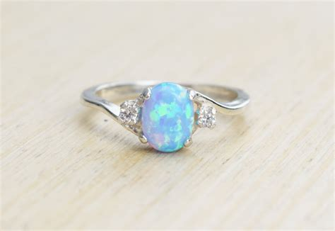 blue opal silver lab opal ring blue opal ring light blue opal ring